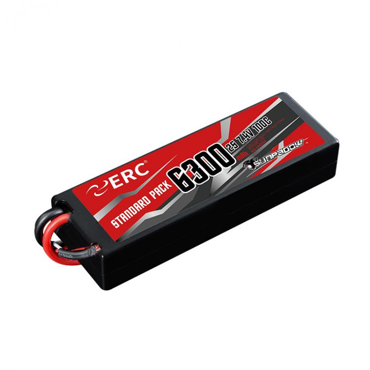 SUNPADOW 6300mAh 2S 7.4V 100C ERC Lipo Battery